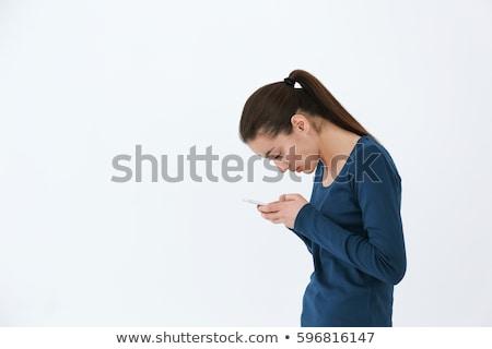 kadın · beyaz · telefon · teknoloji · sevinç - stok fotoğraf © wavebreak_media