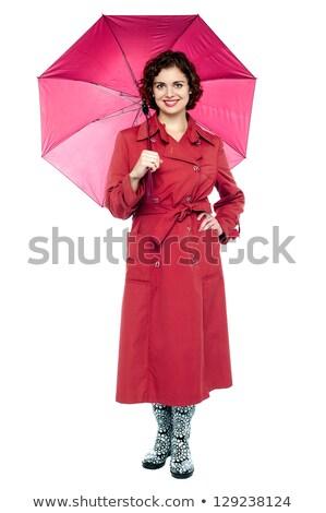 портрет модный женщину темно-бордовый Cute молодые Сток-фото © stockyimages