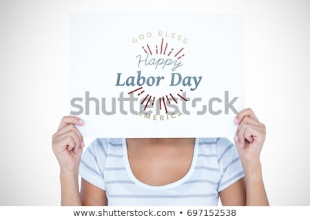 Woman laborer showing white board for message Stock photo © photography33