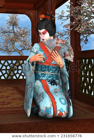 женщину · традиционный · шелковые · кимоно · вентилятор - Сток-фото © wavebreak_media