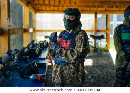 Homme paintball joueur marqueur visage Photo stock © grafvision