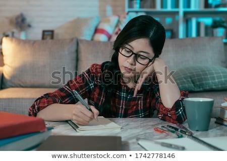 najaar · park · bank · jonge · vrouw · lezen · boek - stockfoto © andersonrise