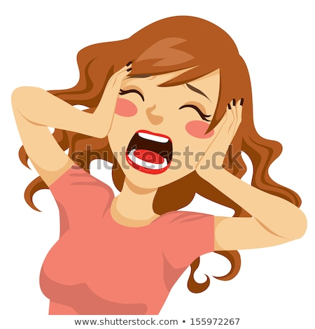 Woman with her hands on face and  her mouth wide open Stock photo © Nobilior