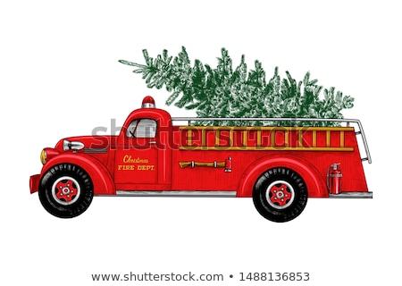 Foto stock: Pormenor · lado · painel · de · controle · moderno · carro · de · bombeiros