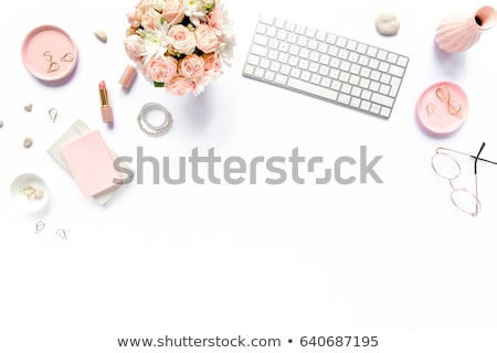 laptop with roses bouquet stock photo © Mikko