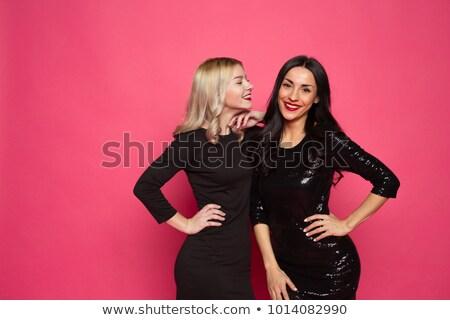 прыжки женщину мало черное платье белый счастливым Сток-фото © stepstock