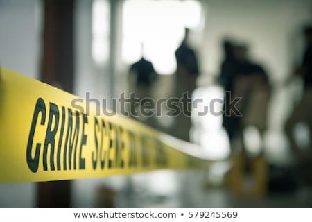 Cena do crime abrir laptop bandeira provérbio não Foto stock © Grumpy59