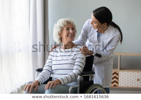 женщину столе вызова колокола службе Сток-фото © jayfish