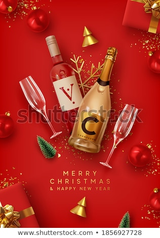 merry christmas a bottle of wine and glasses stock photo © geribody