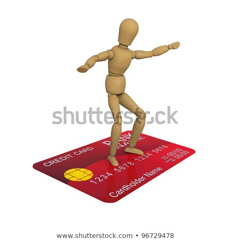 the wooden man stands on the credit card surfer pose 3d rendering stock photo © cherezoff