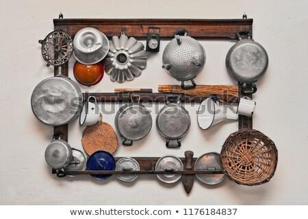 öreg konyhai felszerelés fehér háttér főzés szakács Stock fotó © jirkaejc