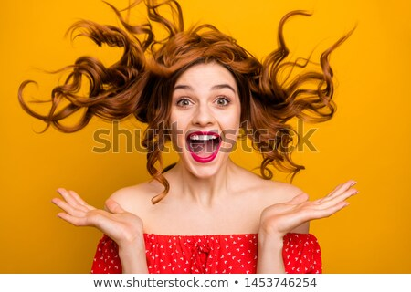 Modell fényes hangerő göndör haj meztelen smink Stock fotó © fotoatelie
