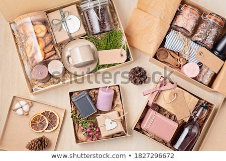 Сток-фото: Подарочные · корзины · подарок · цветы · изолированный · белый