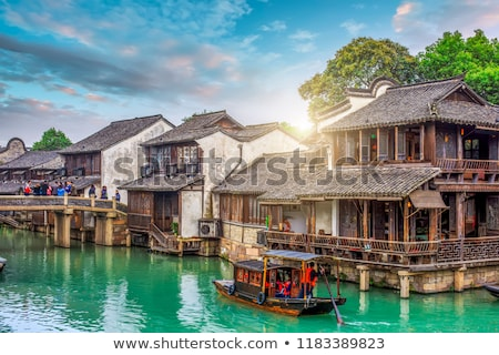 agua · ciudad · China · vista · barco · hombre - foto stock © tito