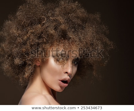 Profile of Young Brunette Fashion Model with Frizzy Hair Stock photo © gromovataya
