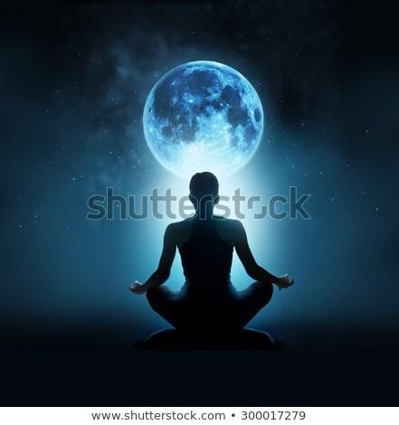 Yoga luz de la luna silueta deporte fitness relajarse Foto stock © adrenalina
