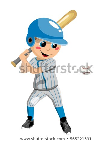 cute · Cartoon · nino · jugando · béisbol · bate - foto stock © digitaljoni
