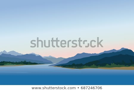 Matin rive montagne lac sunrise ciel Photo stock © deyangeorgiev