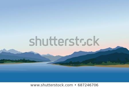 felhők · tó · park · hegyek · panoráma · távoli - stock fotó © deyangeorgiev