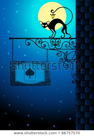 Forged signboard with a black cat and tablet Stock photo © pugovica88