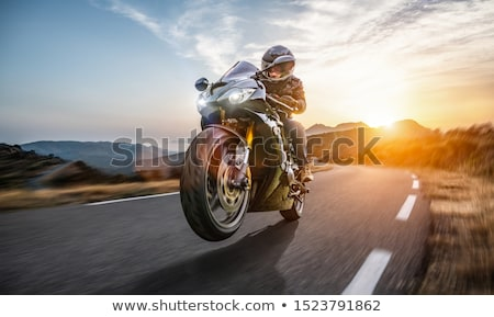 motosiklet · gün · batımı · gökyüzü · adam · doğa · sokak - stok fotoğraf © adrenalina