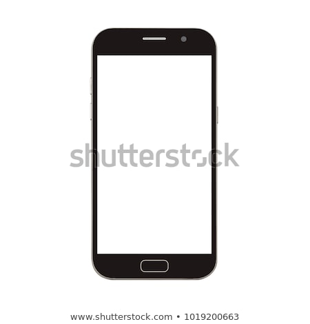 new silver smartphone with blank screen on white background stock photo © manaemedia