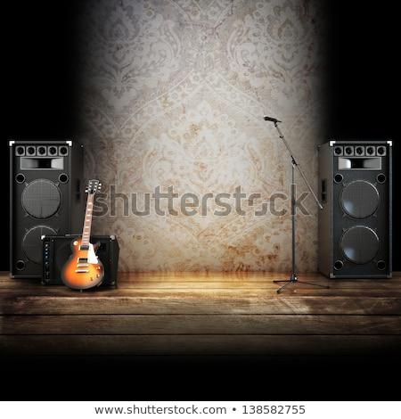 gitár · amper · illusztráció · retro · cső · fehér - stock fotó © koufax73