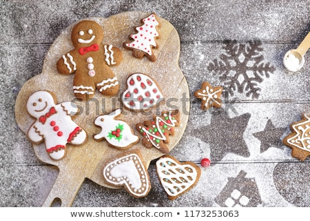 homemade various christmas gingerbread cookies stock photo © karandaev