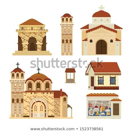 Yunan kilise çan kule saat ev Stok fotoğraf © limpido
