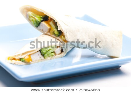 tortilla · frango · carne · legumes · prato · cogumelo - foto stock © phbcz
