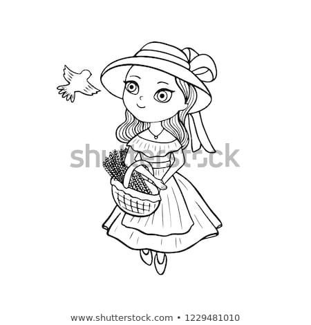 Medieval menina próximo primavera antigo mão Foto stock © PetrMalyshev