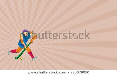 Gyeplabda játékos fut bot alacsony poligon Stock fotó © patrimonio