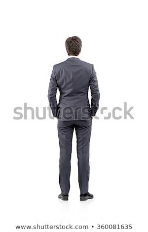 hátsó · nézet · üzletember · gondolkodik · üzlet · vállalati · menedzser - stock fotó © dolgachov