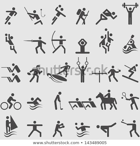 Encajar futbolista saltar hasta blanco hombre Foto stock © wavebreak_media