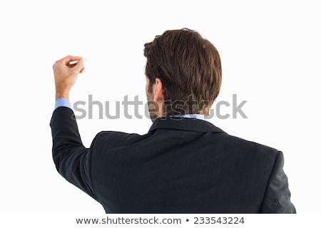 Hátsó nézet üzletember póló ír kréta fehér Stock fotó © wavebreak_media