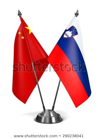 Cina Slovenia miniatura bandiere isolato bianco Foto d'archivio © tashatuvango