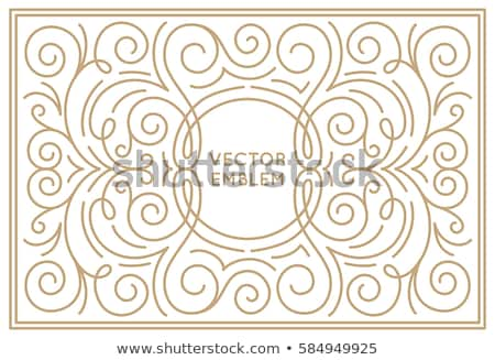 Vector floral frame in trendy mono line style  Stock photo © belopoppa