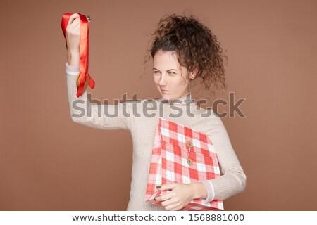 Keresett ajándék boldog lány nő boldog divat Stock fotó © alphaspirit