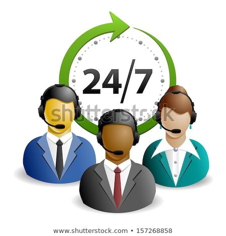 24 Hours Helpline Support Green Vector Icon Stock photo © rizwanali3d