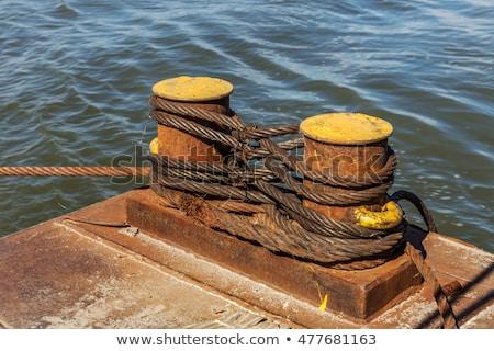 Close-up of mooring bollard with rope Stock photo © amok