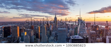Stockfoto: New · York · City · Manhattan · skyline · zonsondergang · centrum · verlicht