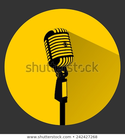 microphone yellow vector icon button stock photo © rizwanali3d