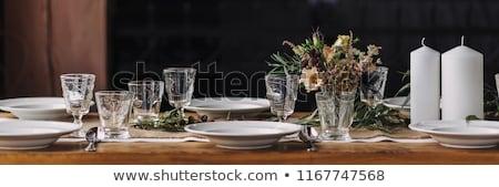長い 表 セット ディナー 家 ホーム ストックフォト © jrstock