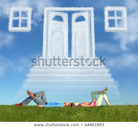 lying couple on grass and dream door way collage stock photo © paha_l
