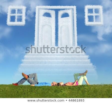 Сток-фото: пару · трава · мечта · двери · способом · коллаж