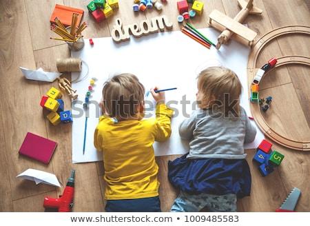 cute · spelen · bouwstenen · geïsoleerd · witte - stockfoto © klinker