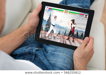 Tablets in the hand of an athlete Stock photo © restyler