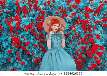 mooie · vrouw · jurk · bloemen - stockfoto © deandrobot