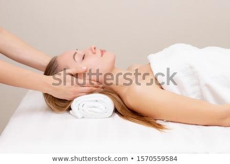 Foto d'archivio: Ritratto · trattamento · termale · faccia · massaggio