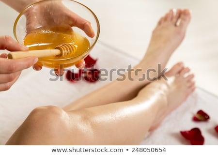 Terapist balmumu bacak spa Stok fotoğraf © wavebreak_media